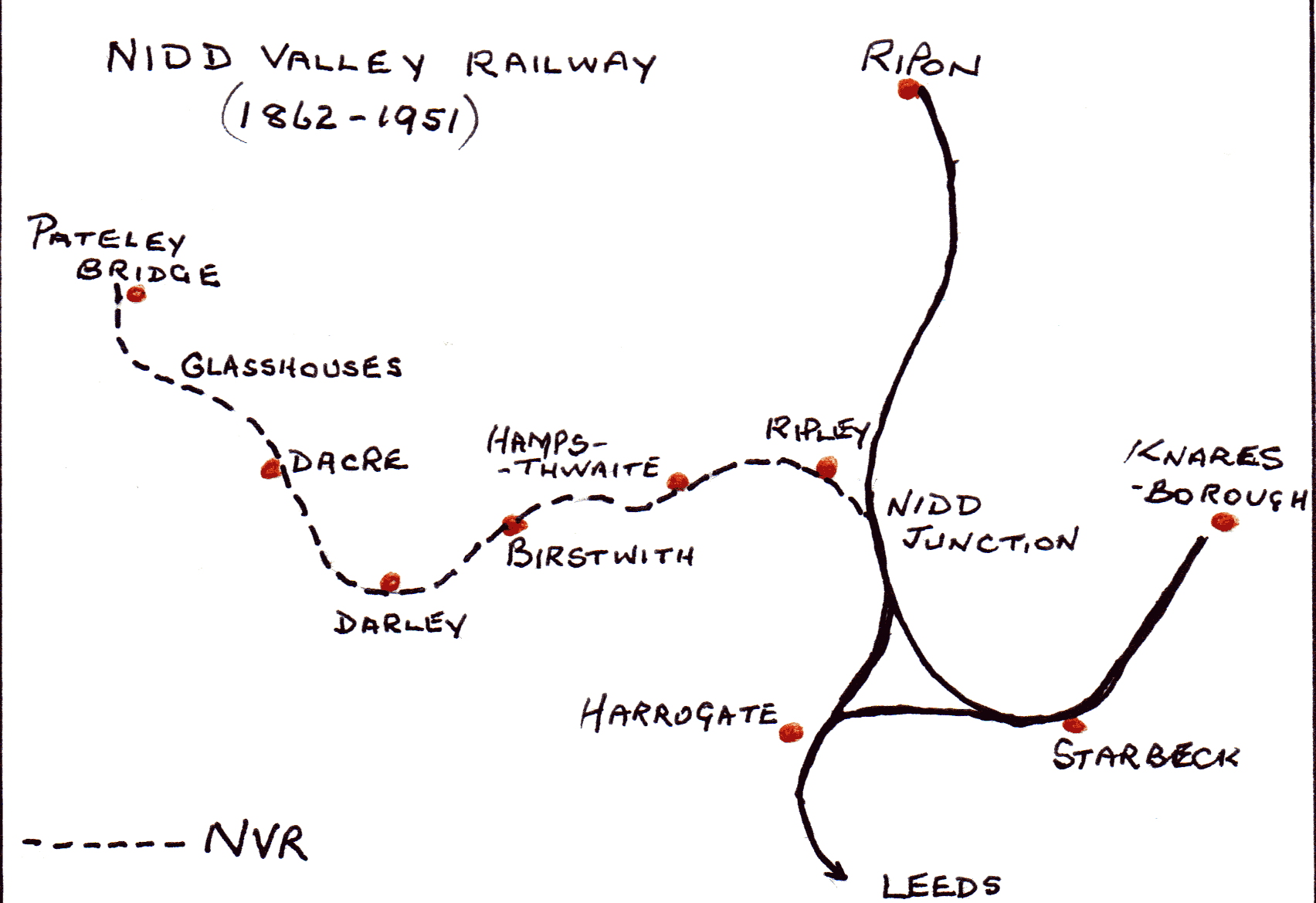 Map of Nidd Valley Railway